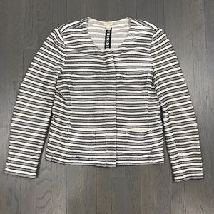 J.Crew Factory Blue White Stripe Zip Blazer Jacket